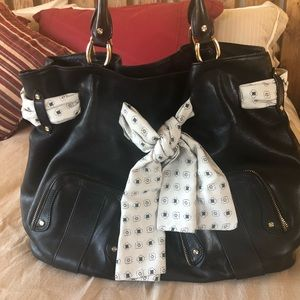 "Black Leather Cole Haan ""Paige Fog"" Purse Large"
